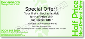 special offer voucher for your first chiropractic visit to Bexleyheath Chiropractic Clinic